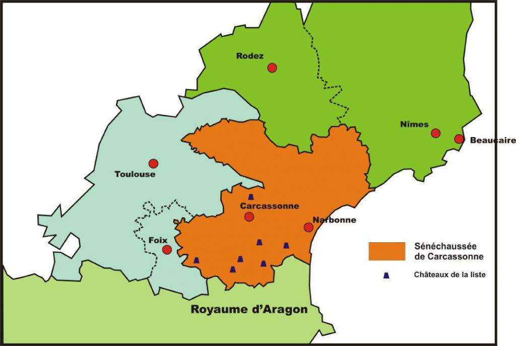 Carte de la sénéchaussée de Carcassonne lors de l'affirmation du pouvoir royal au XIIe siècle