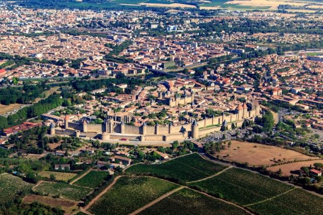 Vue aérienne de la cité de Carcassonne