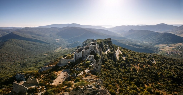 Vue aérienne du château de Peyrepertuse