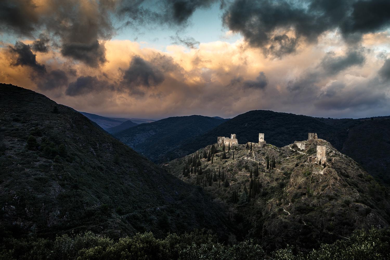 Vue des quatre châteaux de Lastours